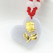 Natural Hetian White Jade Love Heart Pendant Fashion Inlay 24K Gold Rose Women Lucky Necklace Pendant Jewelry Gift new authentic 24k 999 yellow gold pendant 3d lucky rose pendant 1 18g