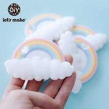 Lassen sie Machen 5pc Regenbogen Silikon Beißringe Cartoon Form BPA FREI Farbton Stange Food Grade Silikon Baby Beißringe Zahnen spielzeug Patent