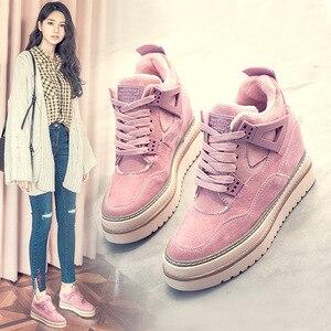 Женская Вулканизированная обувь, увеличивающая рост; сезон осень-зима 2020 года; Теплая обувь с низким берцем; женская повседневная спортивна...