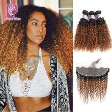 Feixes encaracolados brasileiros, pacotes frontais de renda 1b/30 ombre com frontal de cabelo humano remy cabelo raily