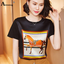 Aimsnug Imitation Silk Women's Top 2020 Summer Black Elegant Horse Print T-shirt Female Short Sleeve Plus Size 3xl Casual Shirt