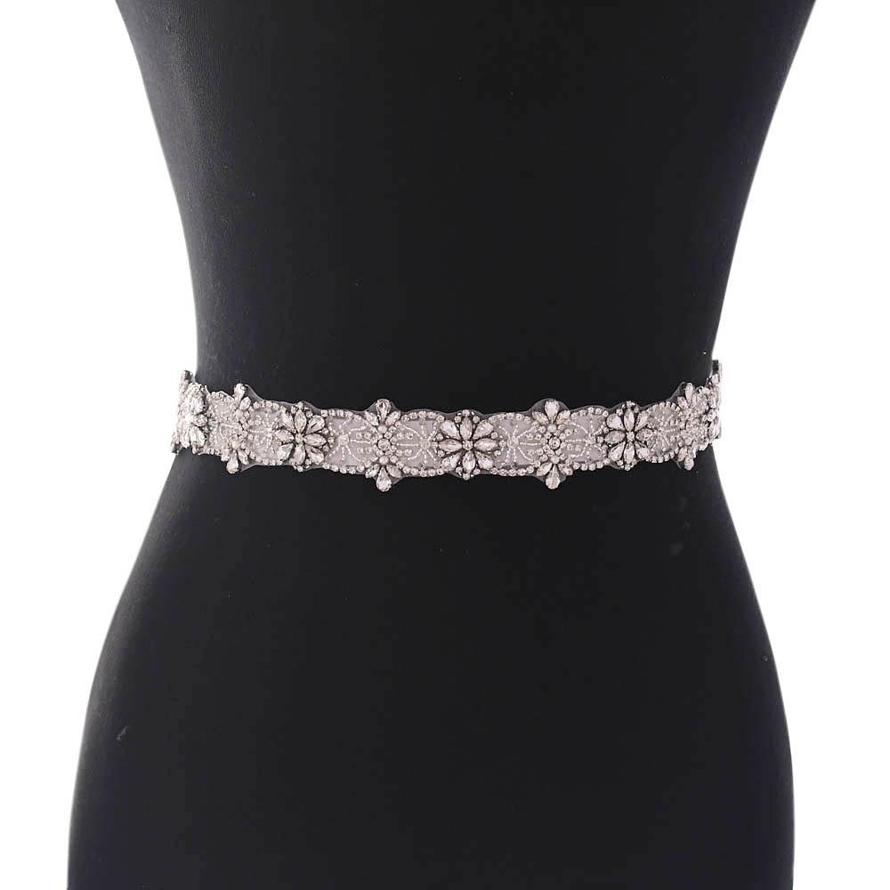 TRiXY S441 Sparkly Crystal Sashes Wedding Belts Rhinestone Wedding Dress Belt Wedding Dress Accessories Bridal Sash Bridal Belt
