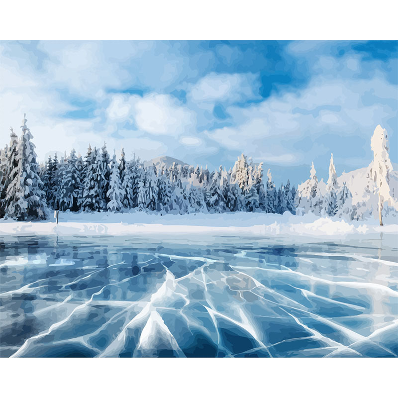 Painting By Numbers DIY Dropshipping 40x50 60x75cm Blue Ice In The Forest Scenery Canvas Wedding Decoration Art Picture Gift