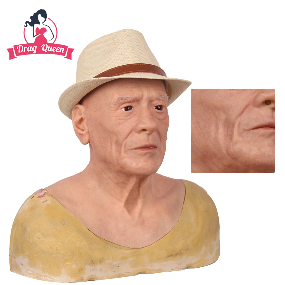 Drag Queen Silicone Old Man Mask Cosplay Artificial Realistic Skin Mask For Crossdresser Transgender Shemale Silicon Male Mask