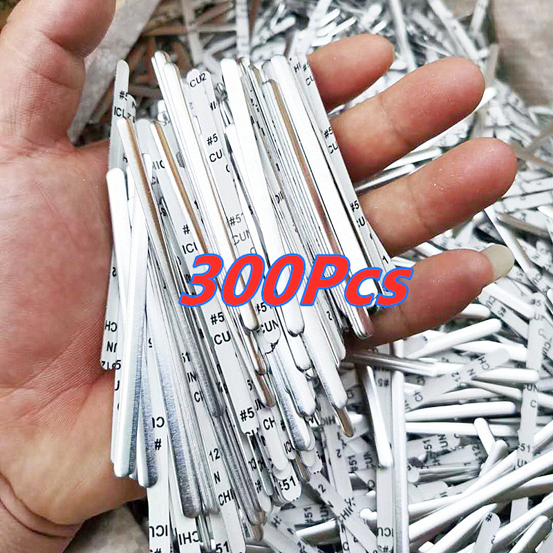 300 Pcs Flat Aluminum Wire Aluminum Nose Bridge Strip DIY Masks Accessories Crafts Metal Strip Double-sided Tape Sewing Tool
