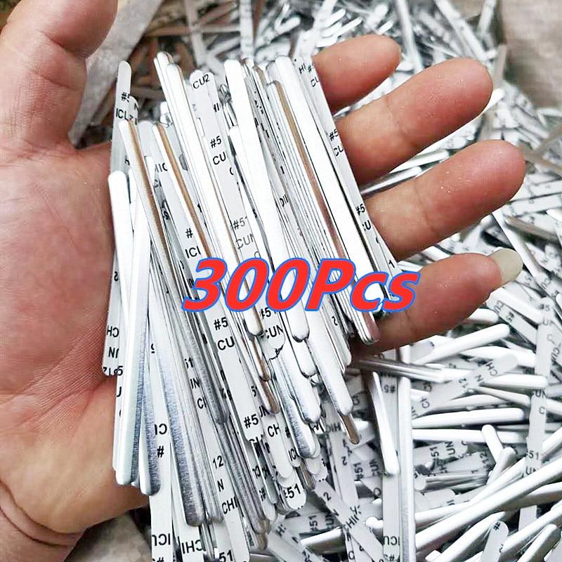 300 Pcs Flat Aluminum Wire Aluminum Nose Bridge Strip DIY Masks Accessories Crafts Metal Strip Double-sided Tape Sewing Tool