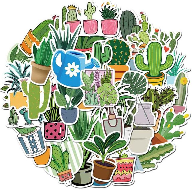 $ 1.69 45 Pcs/Set Green Fresh Cactus Sticker Plant Decals Stickers Gifts for Children to Laptop Suitcase Guitar Fridge Bicycle Car