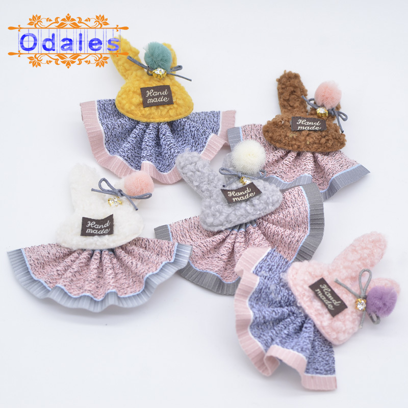 10Pcs/lot Lovely Skirt Rabbit Patches Chiffon Ball Plush Appliques DIY Crafts Supplies Handmade Sewing-on Patches