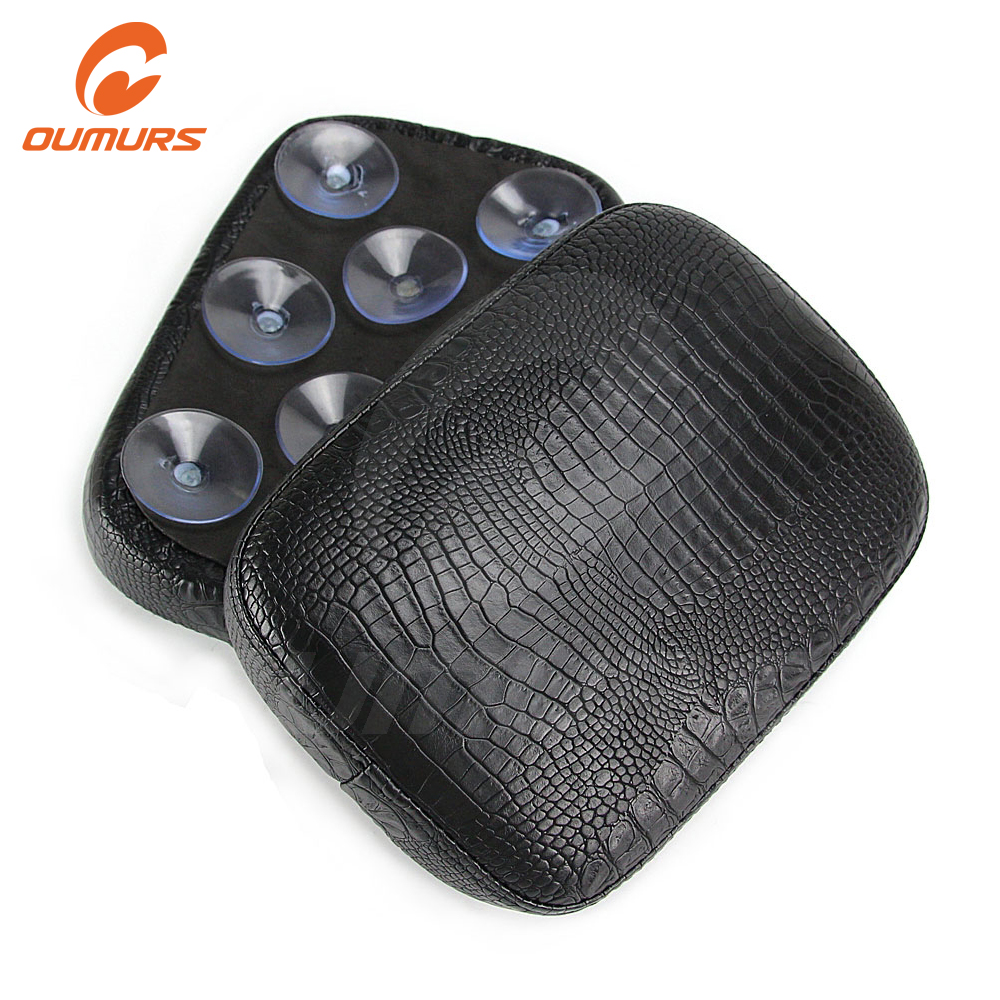 OUMURS Motorcycle Rear Passenger Pillion Pad 6 8Suction Seat Leather Alligator Type For Harley Dyna Sportster Touring XL883 1200