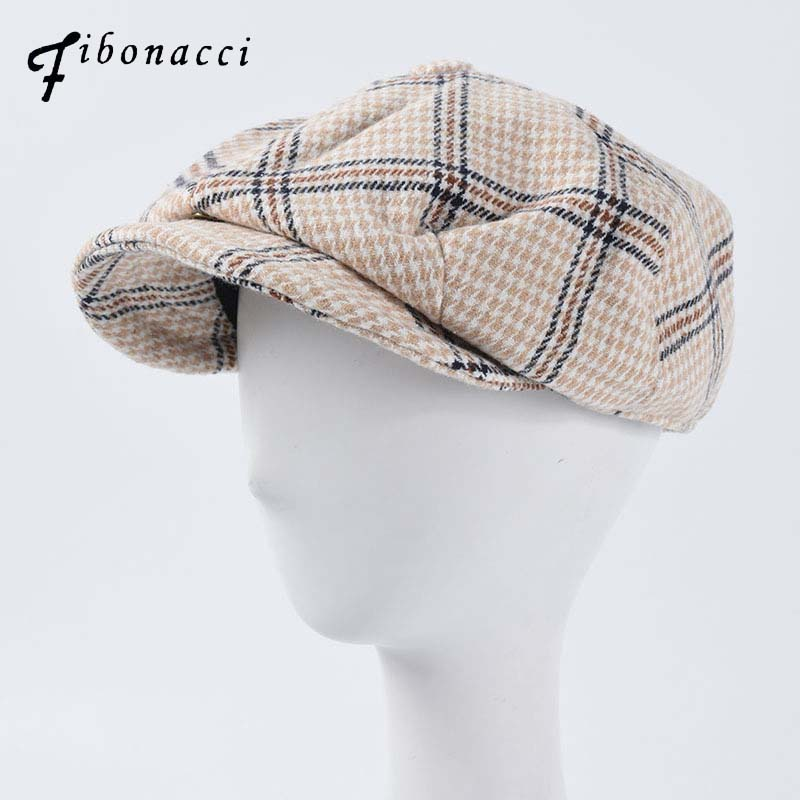 Fibnacci Men Newsboy Cap Beret Wool Hat Tweed Gatsby Octagonal Plaid Women Vintage Brand Winter Spring Duckbill Hats