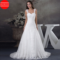 2020 New Elegant Appliques Beaded Wedding Dresses A Line long Bridal Gown Tulle vestido de noiva With Strap White robe de mariee