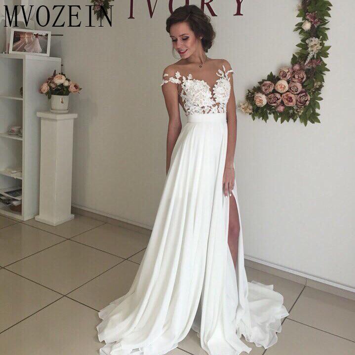 Boho Weiß Hochzeit Kleider Chiffon A linie Cap Sleeves Spitze Brautkleider Hohe Split Hochzeit Kleid vestido de noiva