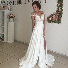Boho 화이트 웨딩 드레스 쉬폰 a 라인 캡 슬리브 레이스 신부 가운 높은 분할 웨딩 드레스 vestido de noiva