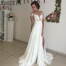 Vestidos para boda de chifón con mangas de encaje, blanco, bohemio
