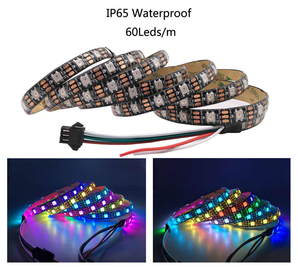 1m 2m 3m 4m 5m WS2812B WS2812 Led şerit, ayrı ayrı adreslenebilir akıllı RGB Led şerit, siyah/beyaz PCB su geçirmez IP30/65/67 DC5V