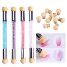 1 pc conjunto de escova de unhas dupla-ended gradiente esponjas escova de arte do prego caneta acrílico gel glitter pó picking ferramentas pontilhar