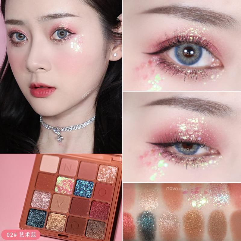 Novo paleta de sombras de maquiagem 16 cores, paleta de sombra para os olhos cintilante de alta pigmentada, à prova d água, uso longo, tslm1