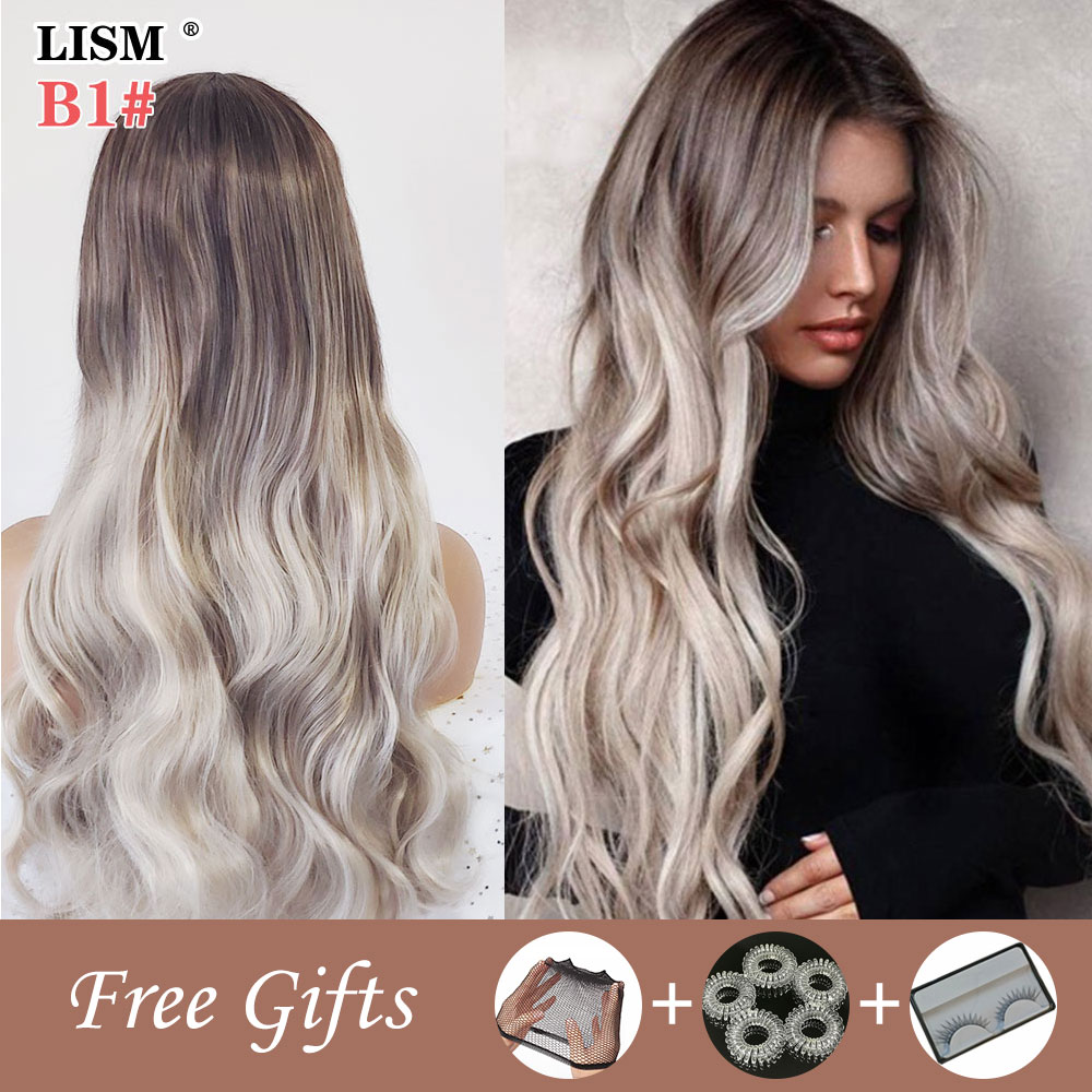 New Fashion Wavy Women Wig Natural Wigs Heat Resistant Fiber False Hair Black/White Ladies Part Cosplay Synthetic Hairpieces