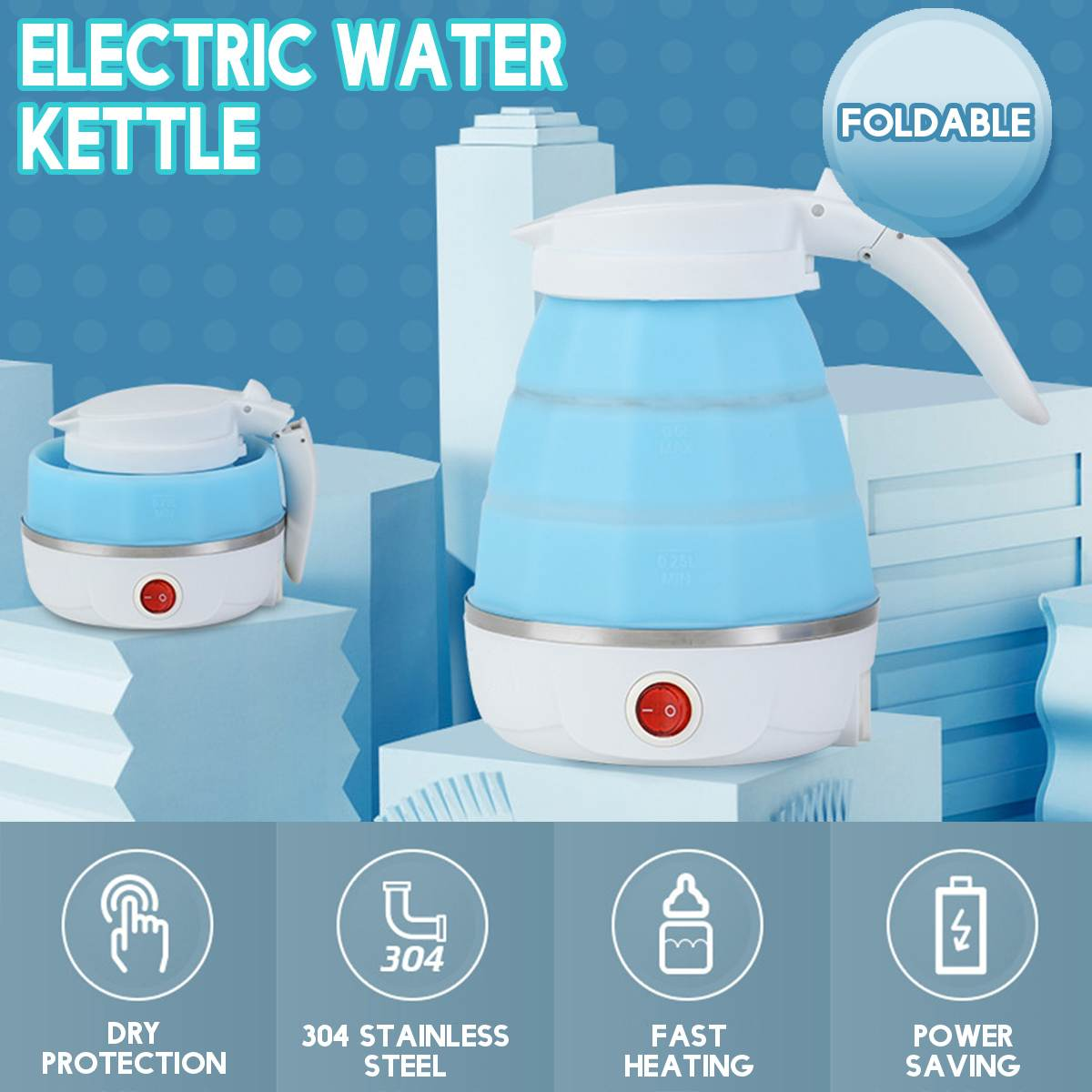 Electric Kettle Silicone Travel Mini Foldable Electric Kettles 220V 700W Portable Water Boiler Collapsible Camping Kettle 600ml