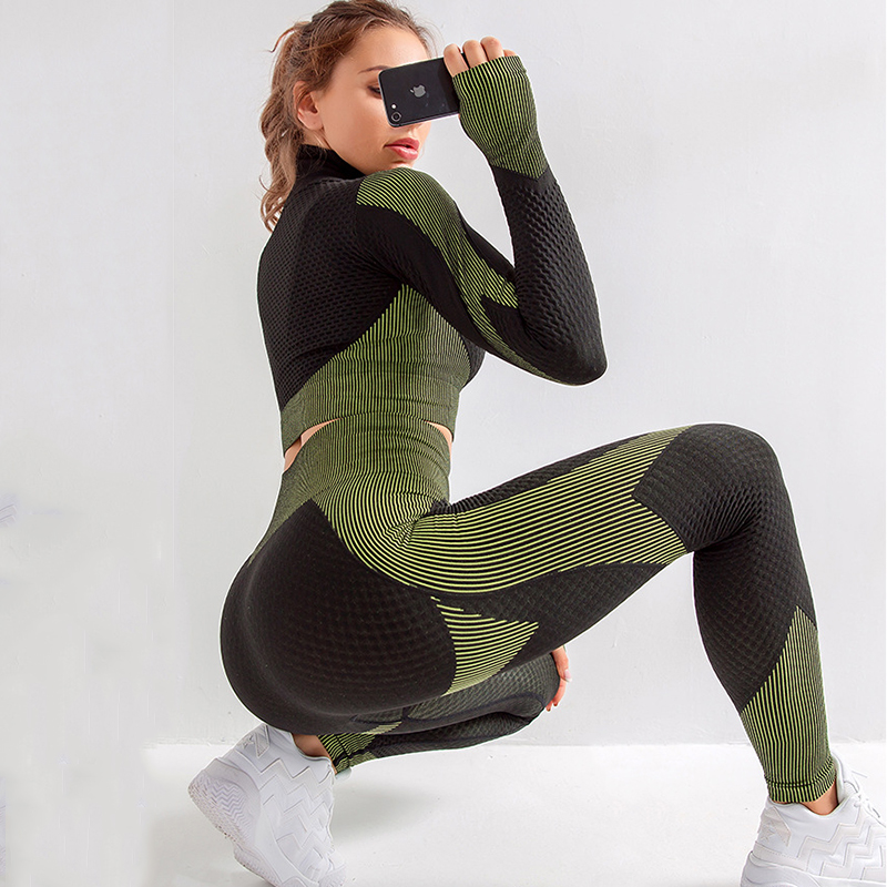 Long Sleeve Top With Zipper+Fitness Running Pants  Sport Suits 2 Pcs Mujer Seamless Gym Sets Army Green Quick Drying Yoga Sets