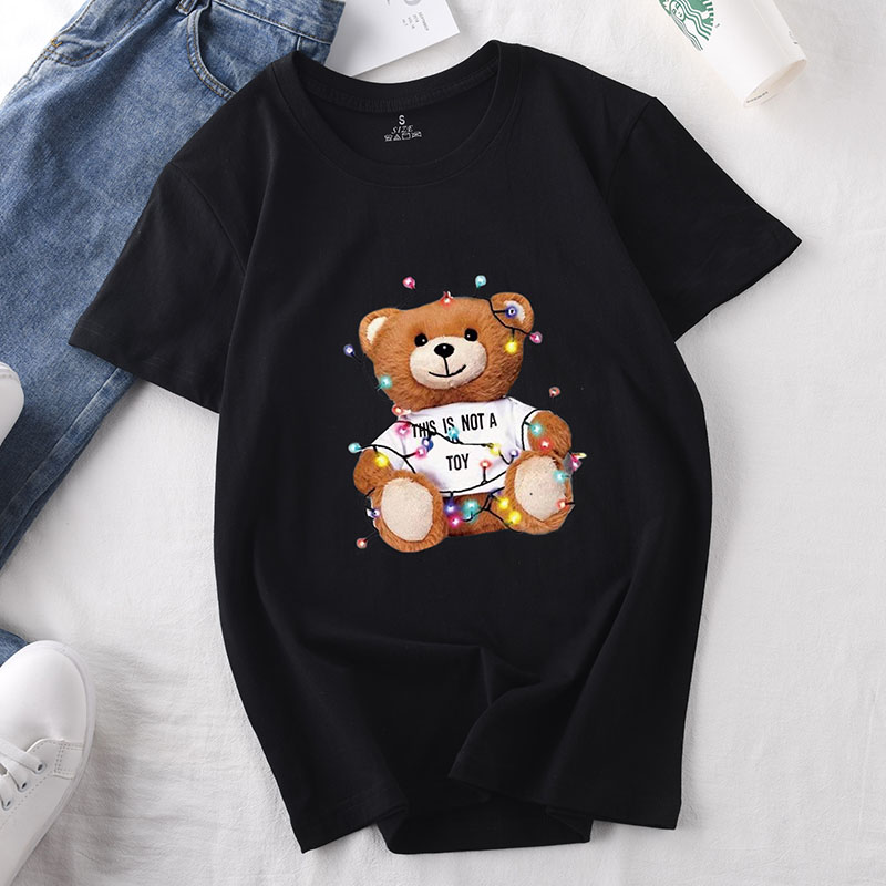 Women's Short Sleeve Teddy Bear Tshirt White Black Top Tees Women Loose Cotton Summer T-Shirt Female Clothing Tops With Cartoon
