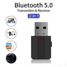 Usb bluetooth 5.0 sem fio receptor mini 3.5mm aux estéreo música adaptador fone de ouvido bluetooth para rádio do carro tv dropshipping
