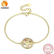 COLOGO Authentic 925 Sterling Silver Tree of Life crystal Bracelet Women Adjustable Link Chain Jewelry lkn0061