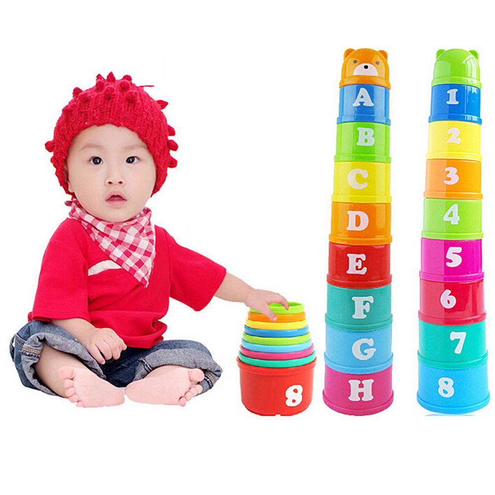 9PCS Bear Stack Cup Educational Baby Toys 13 24 Months Rainbow Color Kid Figures Folding Tower Funny Piles Cup Number Letter Toy