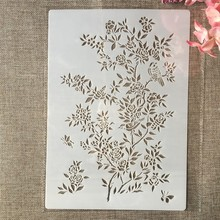 Layering Stencils Wall-Painting Rose-Flower-Plants Embossing-Album-Decorative-Template