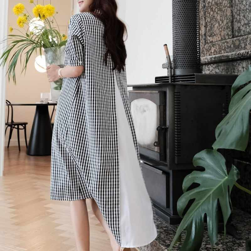 Lanmrem Kan Schip 2020 Summmer Mode Nieuwe Vrouwen Kleding Losse Rooster Zwart Wit Patchwork Shirt Jurken Onregelmatige YJ053