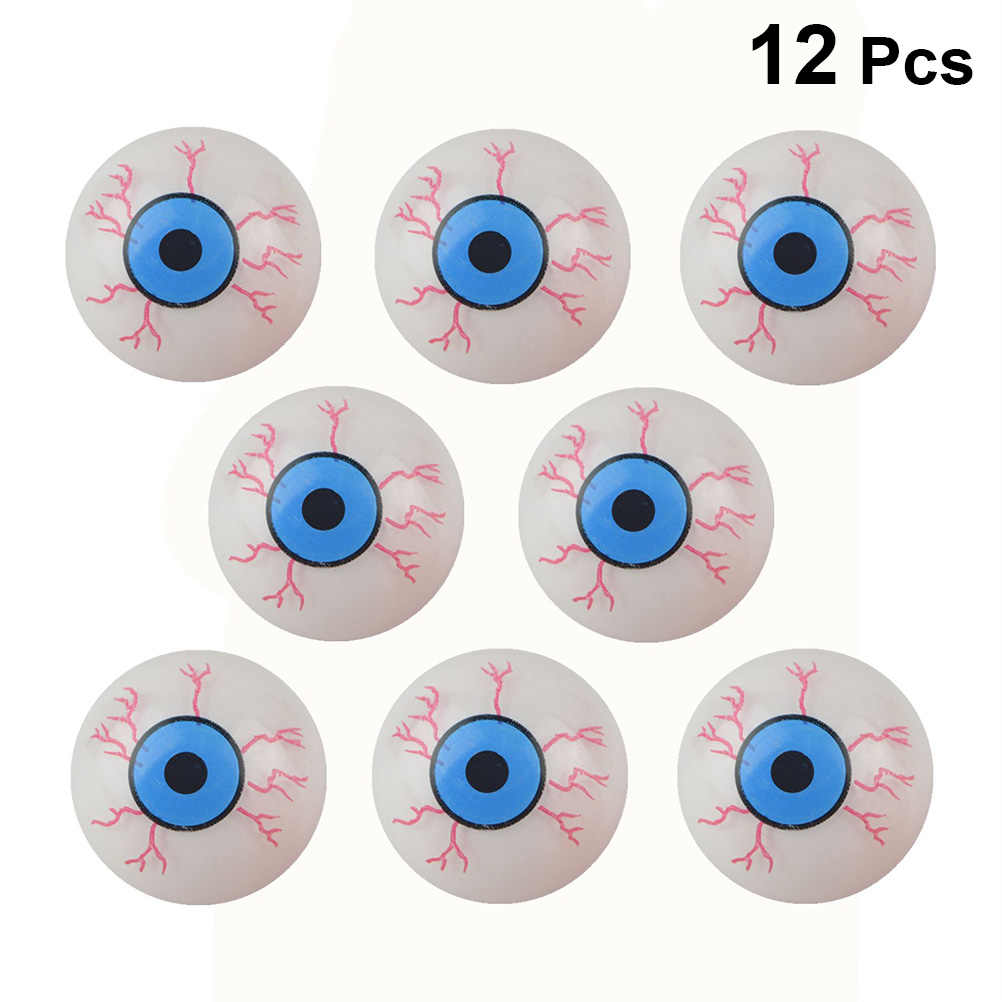 24 PCs Halloween Scary Realistic Eyes; 12 Pair Hollow Plastic Eyeballs for Halloween Trick or Treat Party Craft Decoration Horror Prop Decor White