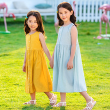 цена на Maxi Long Girls Summer Dress 100% Cotton Yellow Blue clothes Dress For Girls 13 To 15 Years  Kids Dress Girl 8 To 12 4 5 6 7 Age