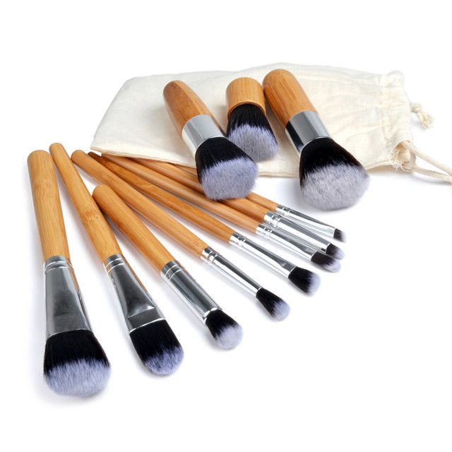 10/11PCS Fashion Bamboo Makeup Brushes Set with Bag Cosmetics Foundation Make Up Brush Tools Kit for Powder Blusher Eye Shadow 2