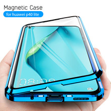 magnetic metal double side glass phone case for huawei p40 lite case back cover for hauwei p 40 light p40lite 40lite P40lite p40