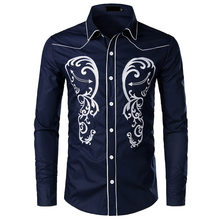 Fashion Western Denim Shirt Men's Brand Design Embroidered Slim Long Sleeve Shirt Men's Fashion Casual Wedding Party Shirt Men long sleeve patch design suede insert denim shirt