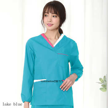 Women Long Sleeve Scrub Set Color Blocking VNeck Uniforms Top Spa Clinic Workwear Clothes Elastic Band Drawstring Scrub Trousers