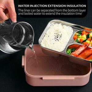 Image 4 - Worthbuy日本子供ランチボックス304ステンレス鋼弁当ランチボックスコンパートメント食器電子レンジ食品容器ボックス