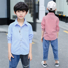 Korean Classic Stripe Crop Shirt Boys Long Sleeve Teenage Shirts for Boys Kids Turn Down Collar Clothes Boys Cotton Blouses 4-13 girls plaid blouse 2019 spring autumn turn down collar teenager shirts cotton shirts casual clothes child kids long sleeve 4 13t