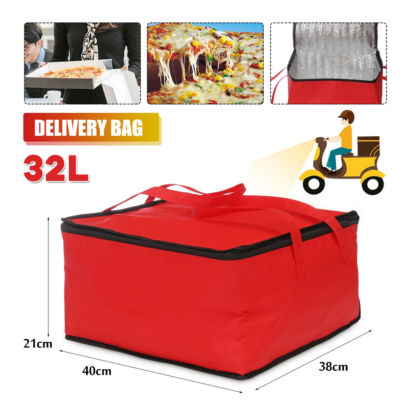15'' Insulated Bag Cooler Bag Folding Picnic Portable Car <font><b>Ice</b></font> <font><b>Pack</b></font> Food Thermal <font><b>Lunch</b></font> Bag Outdoor Food Delivery Bag Pizza Bag image