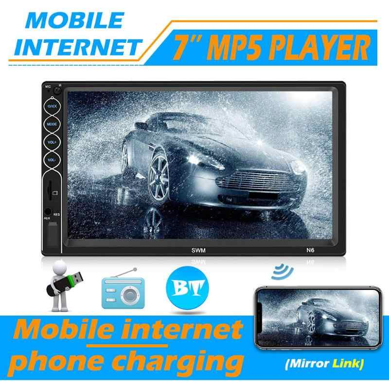 Mobil Stereo Video MP5 Pemain 2din 7 Inch Touch Screen Bluetooth USB AUX FM Mobil Radio Kamera Cadangan Multimedia Player