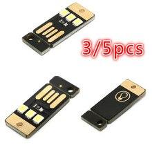 Keychain Book-Light Night-Lamp Usb-Power Led-Bulb Laptop Mini for PC Pocket-Card 3/5pcs