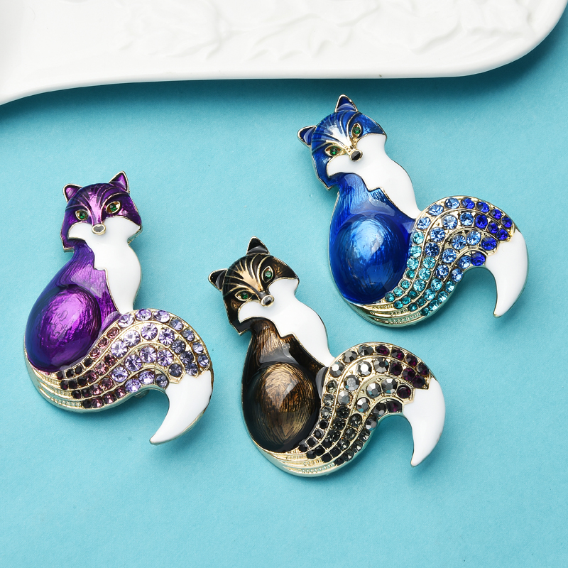 Rhinestone Enamel Fox Brooches For Women Animal Party Causal Brooch Pins Gifts CLOVER JEWELLERY