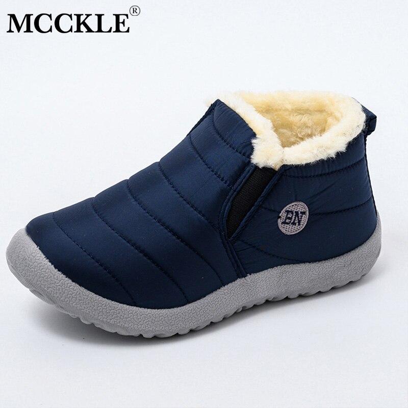 MCCKLE botas de nieve zapatos de mujer botas de tobillo de piel de felpa cálido invierno mujer deslizamiento en zapatos planos casuales calzado impermeable ultraligero