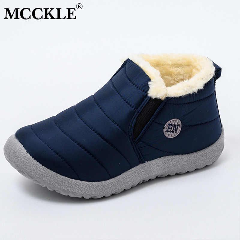 MCCKLE kar çizmeler kadın ayakkabıları sıcak peluş kürk yarım çizmeler kış kadın üzerinde kayma düz rahat ayakkabılar su geçirmez Ultralight ayakkabı