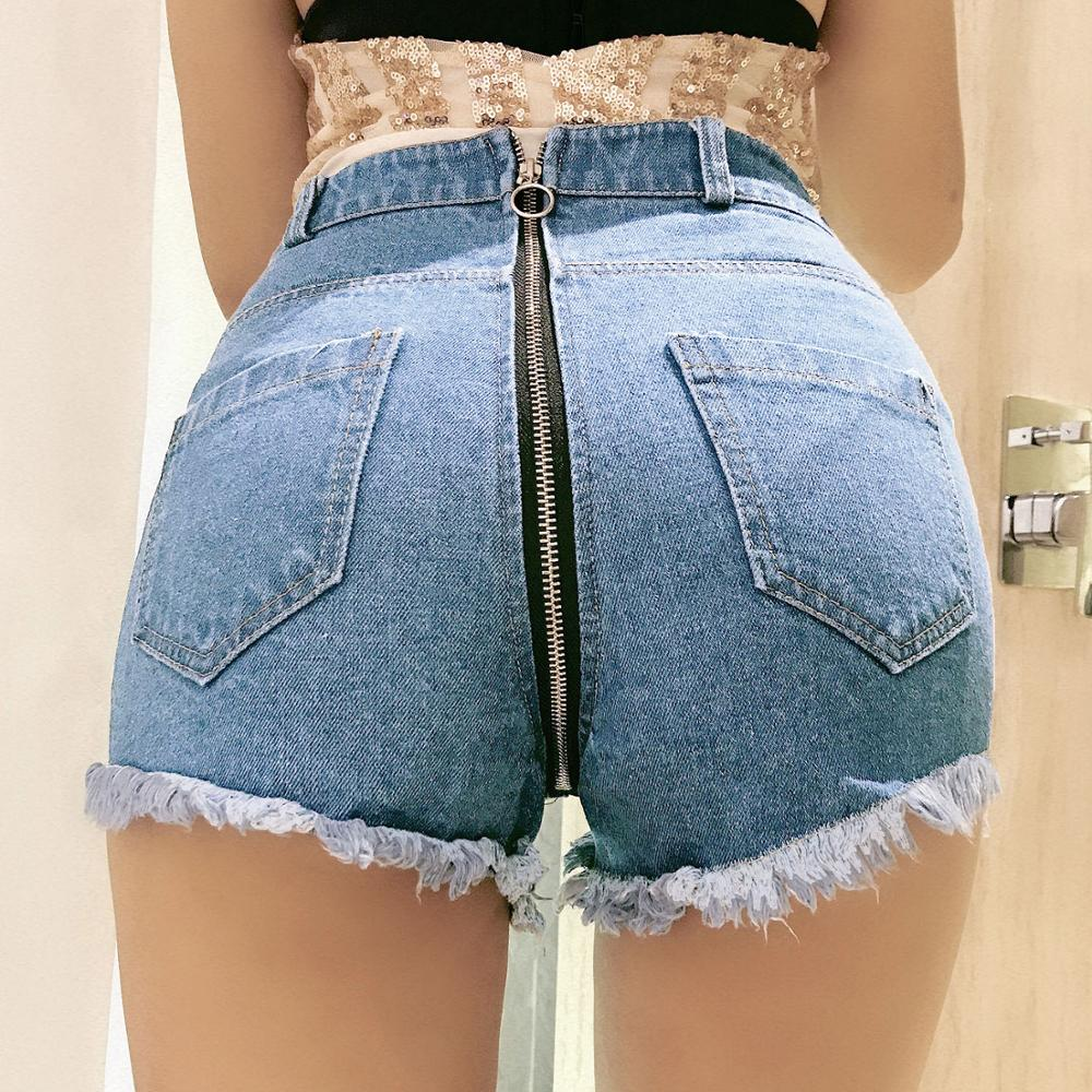Push Hip Up <font><b>Sexy</b></font> High Waist Denim Booty <font><b>Shorts</b></font> Tassel Moustache Jeans Woman Behind Zipper Open Butt Micro <font><b>Mini</b></font> <font><b>Short</b></font> Clubwear image