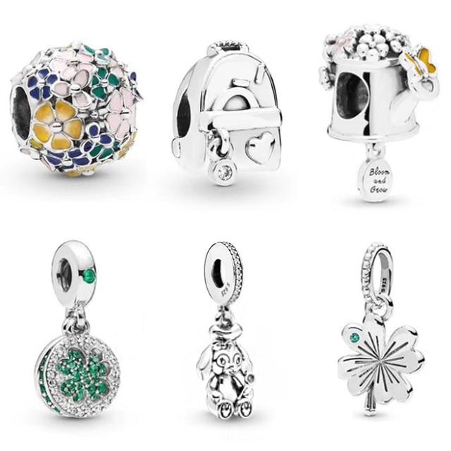 $ US $13.80 2019 NEW Spring 100% 925 Sterling Silver Flower Leaf Charm Bead Hollow Crystal Fit European Women DIY Bracelet Factory Wholesale