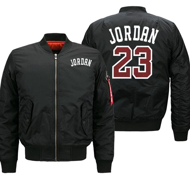 Jordan 23 Men's Thick Jackets Printed Male Coats Fashion Streetwear Casual Bomber Jacket Winter Men 2019 Autumn Warm Zipper Coat
