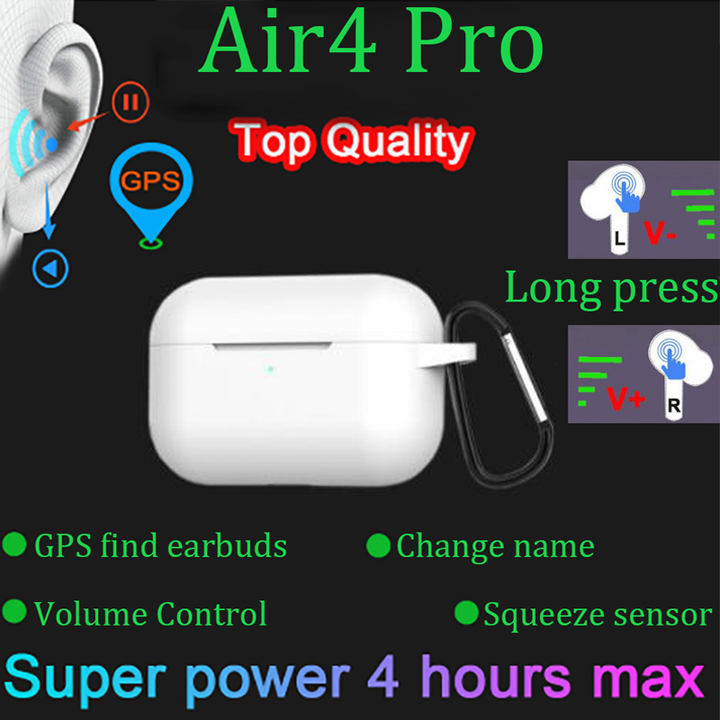 Air4 Pro Tws 1:1 Wireless Earphone  Volume Control  Pressure Sensor Bluetooth Earphone Earbuds Pk I90000 I200000 I900000 Pro Tws