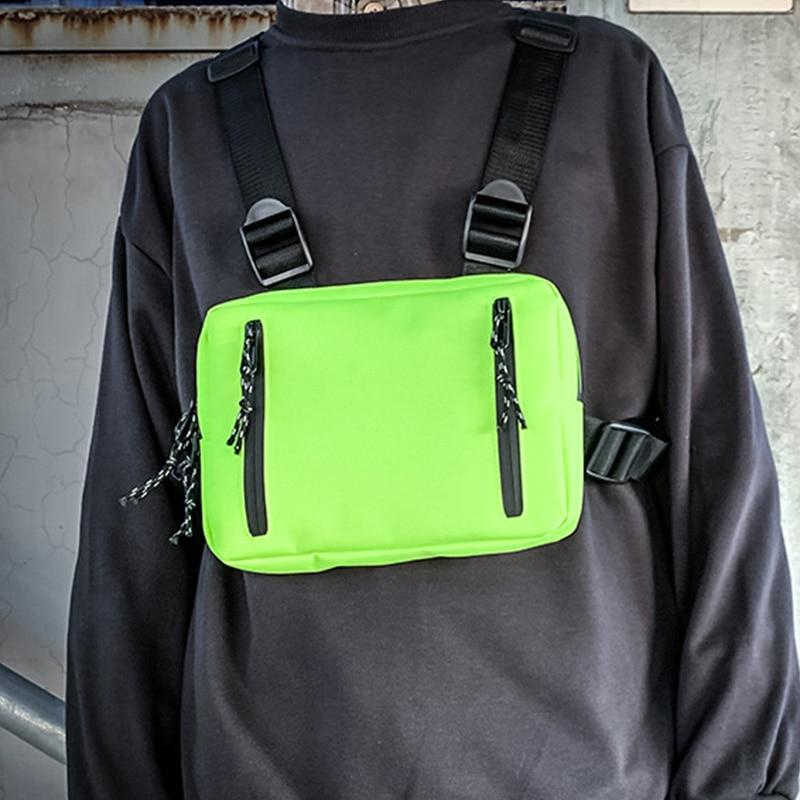 Trend Chest Rig Bag Function Tactical Chest Bags Streetwear Fashion Hip Hop Vest Bag Men Motorcycle Vest Chest Pack Kanye West