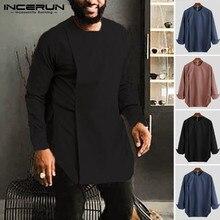 Ropa africana para hombre camisa Casual manga larga cuello redondo Color sólido Irregular Tops Vintage hombres africanos Dashiki camisas INCERUN 2019